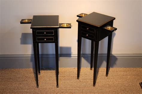 very small side table very smart small pair of 1950s french ebonised bedside