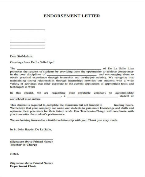 Endorsement Letter For On The 16 Sle Endorsement Letters