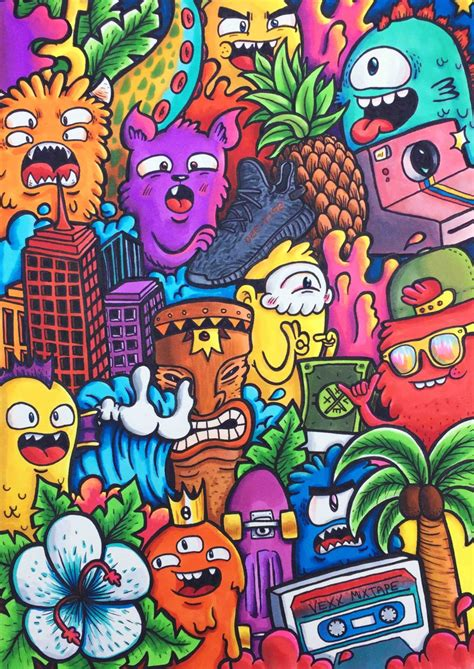 doodle characters monsters colored doodles no 2 limited edition signed embossed vexx art