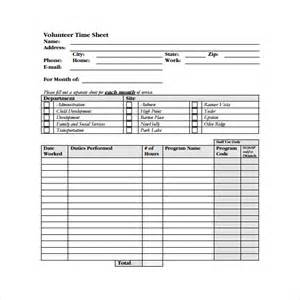 Volunteer Time Sheet Template by Volunteer Timesheet Template 9 Free Doccuments