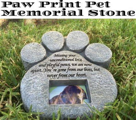 pet burial in backyard paw print pet memorial stone features a photo frame and