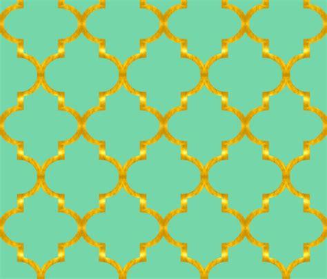 gold quatrefoil pattern gold and mint quatrefoil sparrowsong spoonflower