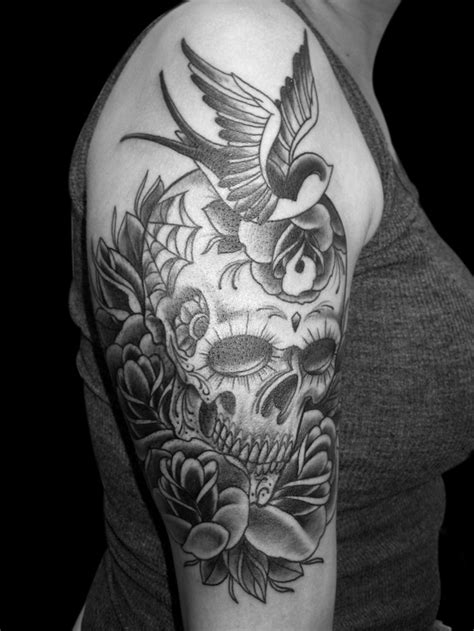 sugar skull tattoo black and white www imgkid com the