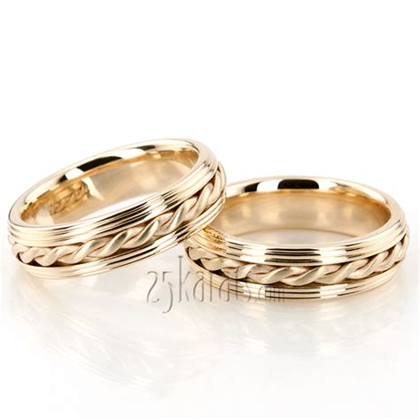Handmade Wedding Ring Sets - hh hc100148 14k gold custom step edge handmade