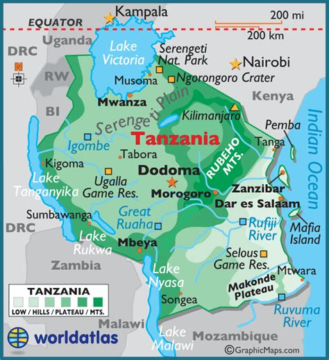5 themes of geography tanzania tanzania large color map