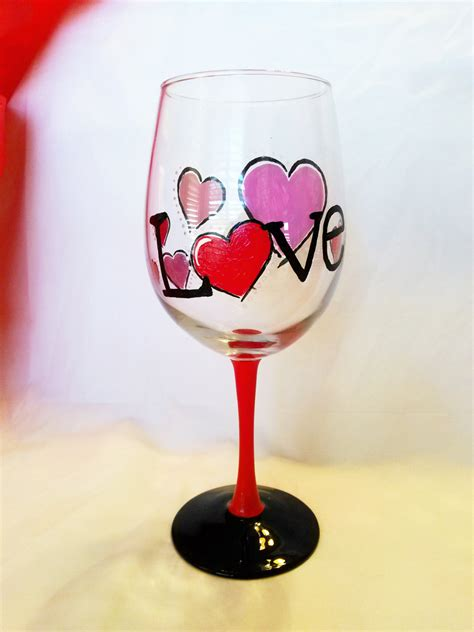 happy valentines glass gift for painted wine glass gift
