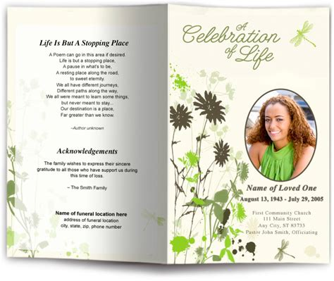 dragonfly funeral program template dragonfly design