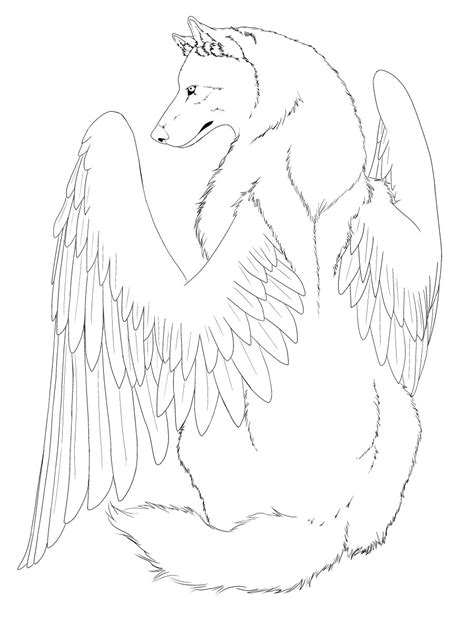 winged wolf coloring page winged wolf line art edited by crimsonwolfsobo on deviantart