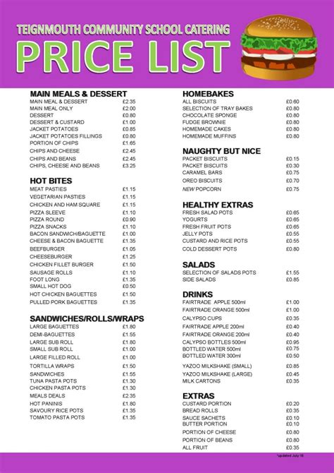 price of catering prices teignmouth community school