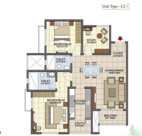 2 5 bhk floor plan prestige song of the south 2 5 bhk 1366 sft prestige
