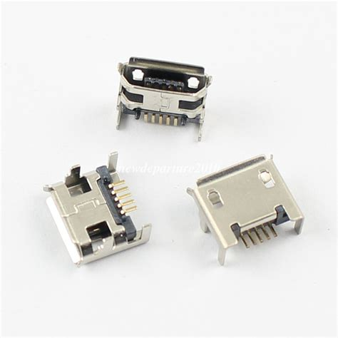Soket Socket Usb Type A 4 5pcs micro usb type b 5 pin dip socket connector 4 legs