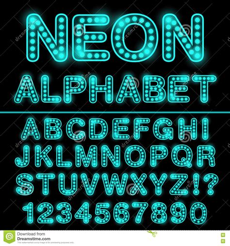 neon light letters font neon light alphabet in cyan color glowing font for design