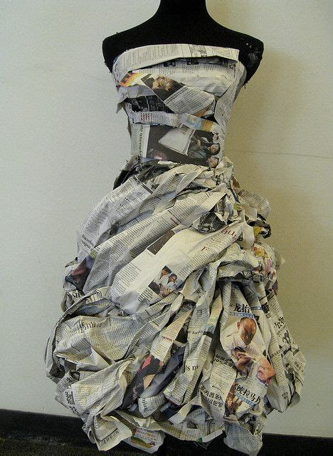 design clothes paper newspaper dress with lovely texture detail fashion