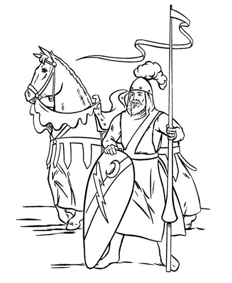 knight guarding the border in middle ages coloring page