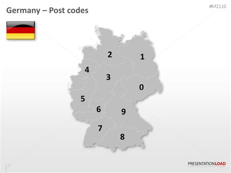 zip code map germany powerpoint map germany with zip 2 digits presentationload