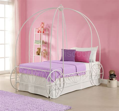 princess bed frame twin white metal princess cinderella carriage kid girls