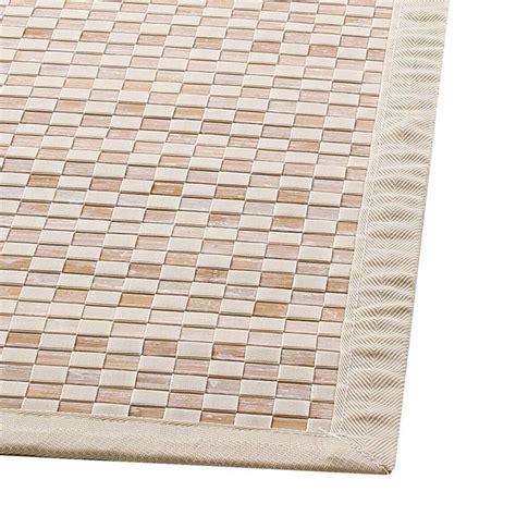 tapis bambou 170 cm damier ecru tapis bambou eminza