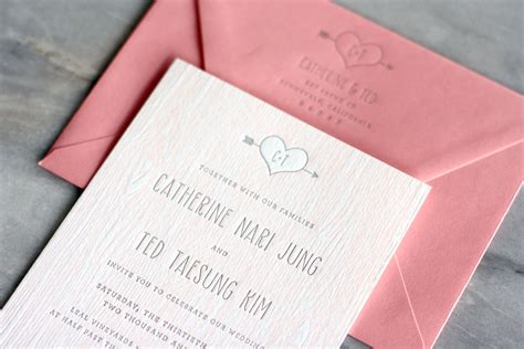 Wedding Invitations by Catherine Ted S Modern And Rustic Faux Bois Wedding