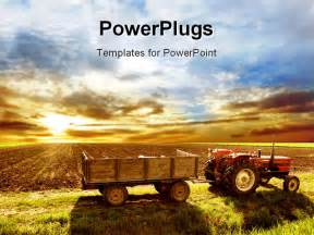 Agriculture Powerpoint Templates by A Agriculture Landscaped With A Tractor And Sunset