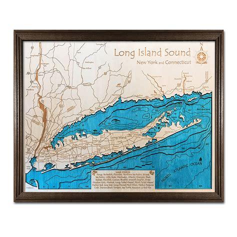 long island sound ny  nautical wood chart