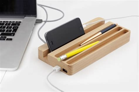 desk l with usb charging station kikkerland wood charging station phone charger holder desk