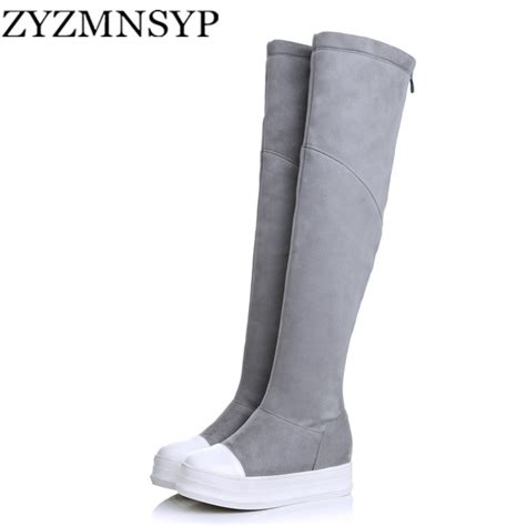 Flock Thigh High Boots Gray zyzmnsyp nubuck flock winter shoe the