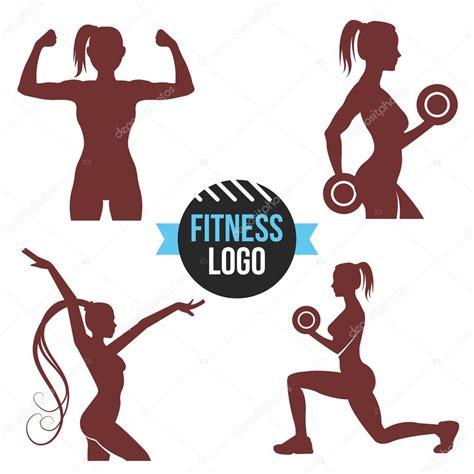 imagenes logos fitness sistema de la insignia de aptitud siluetas de mujer