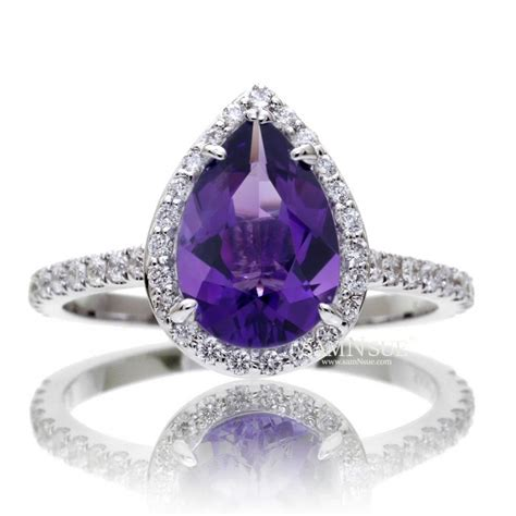 pear 10x7 purple amethyst ring halo engagement ring