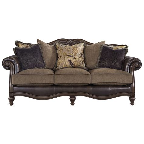 durablend leather sofa signature design by ashley winnsboro durablend traditional