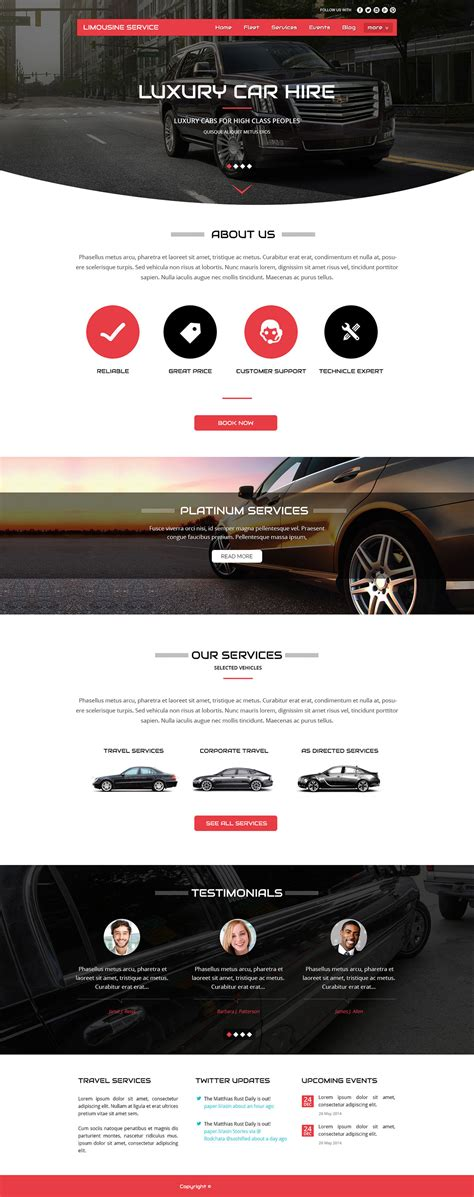 Limo Website Templates Pricing Information Limousine Web Template