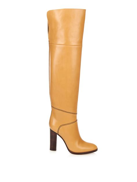 the knee leather boots chlo 233 graze the knee leather boots in brown lyst