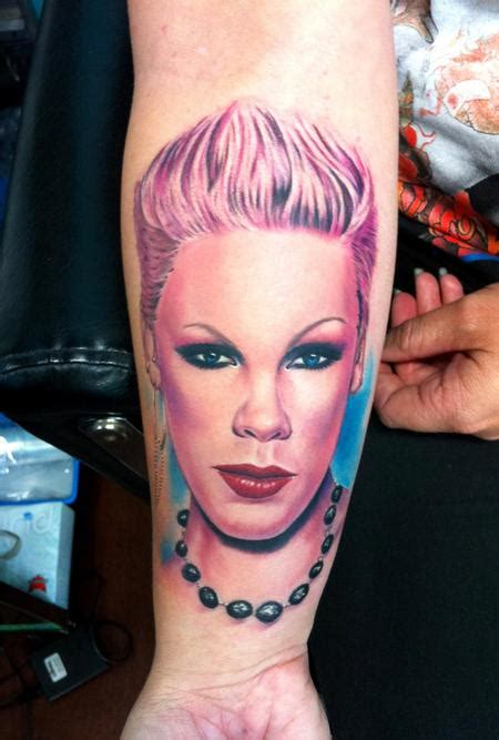 blue and pink portrait tattoo pink portrait by ganso galvao tattoonow