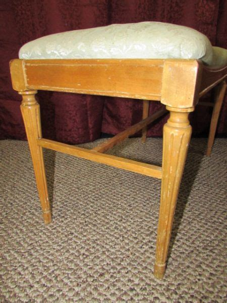 wooden vanity bench lot detail vintage wooden vanity bench with upholstered seat