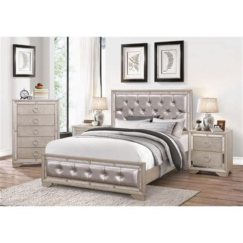 tufted king bedroom set abbyson living beaumont leather tufted 4 piece king