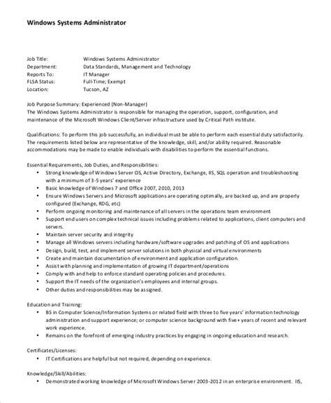 linux system administrator job description systems