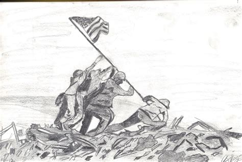 D Day Sketches by The Gallery For Gt Iwo Jima Flag Raising Drawings