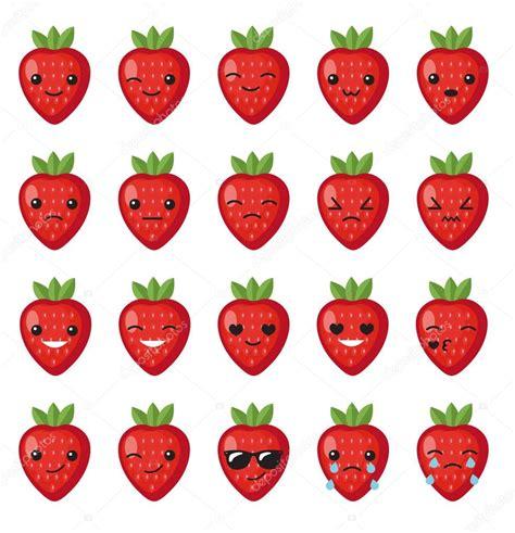 Sticker Stroberi set strawberry emotions set strawberry smileys strawberries with kawaii on a white