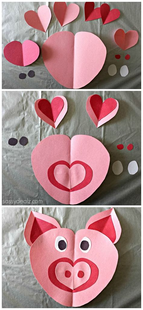Paper Craft Hearts - pig craft for
