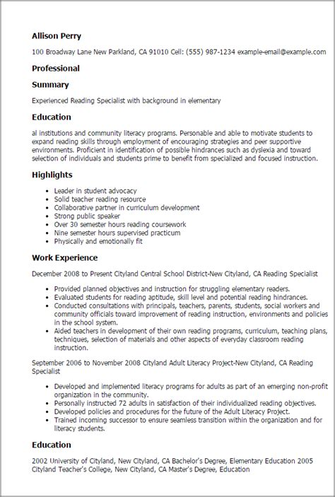 reading specialist sle resume 1 reading specialist resume templates try them now