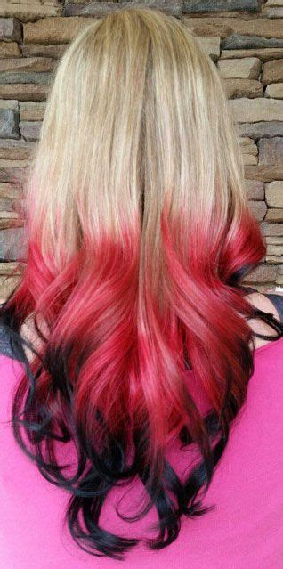 blonde red black ombre dip dyed hair color colorful hair