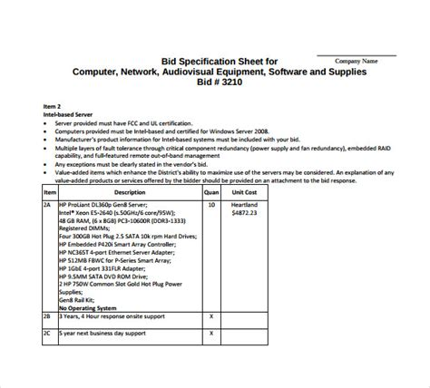tender specification template bid sheet template 12 free sle exle format
