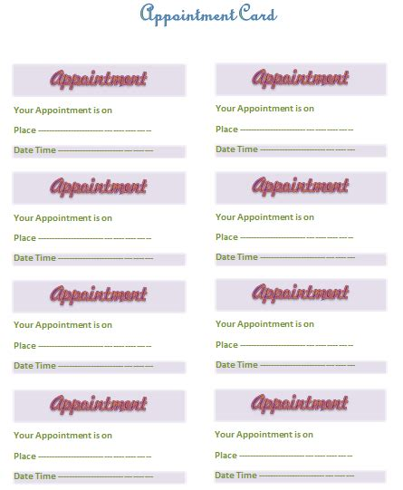 printable appointment cards templates appointment card template templates for microsoft 174 word