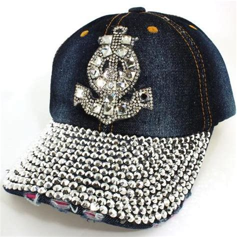 Studded Baseball Cap nautical anchor rhinestone studded baseball cap on storenvy