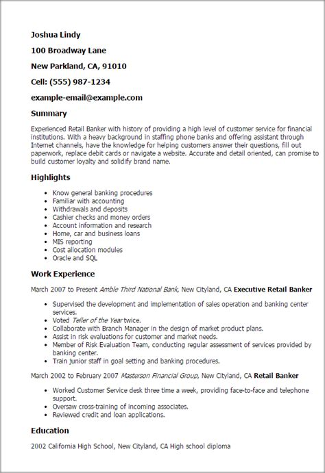 Retail Banker Sle Resume by Professional Retail Banker Templates To Showcase Your Talent Myperfectresume
