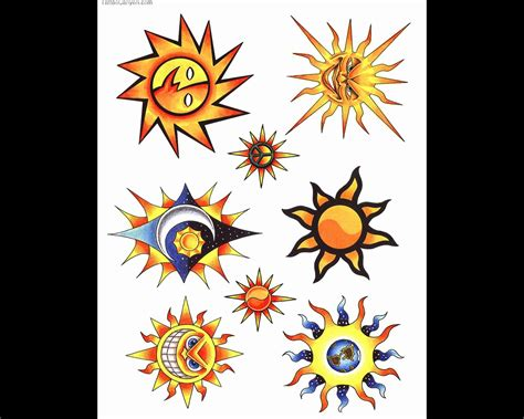 colorful sun tattoo sun color clipart