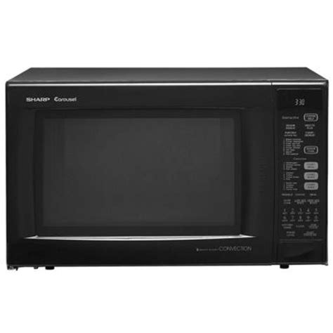 Microwave Sharp R 249in W Sharp 1 5 Cu Ft 900w Convection Microwave In Black R930ak The Home Depot