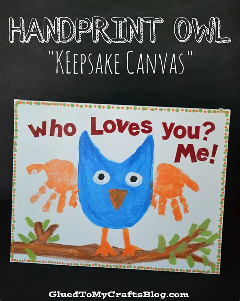 handprint owl keepsake canvas kid craft a night owl blog