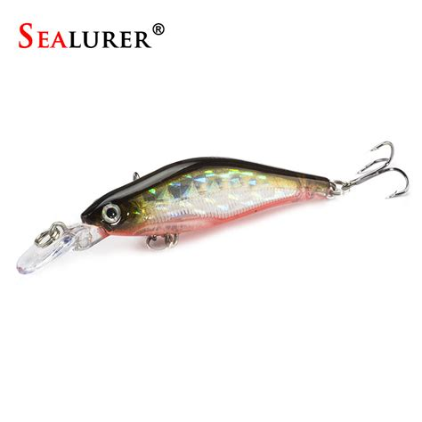 Minnow 8cm Lure Fishing Bait 3 sealurer wobbler sinking minnow fishing lure 8cm 6g tongue plastic bait crankbait