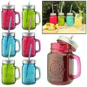 decorar vasos con tapa amos tarros coloreados mason jar jarras vidrio frascos