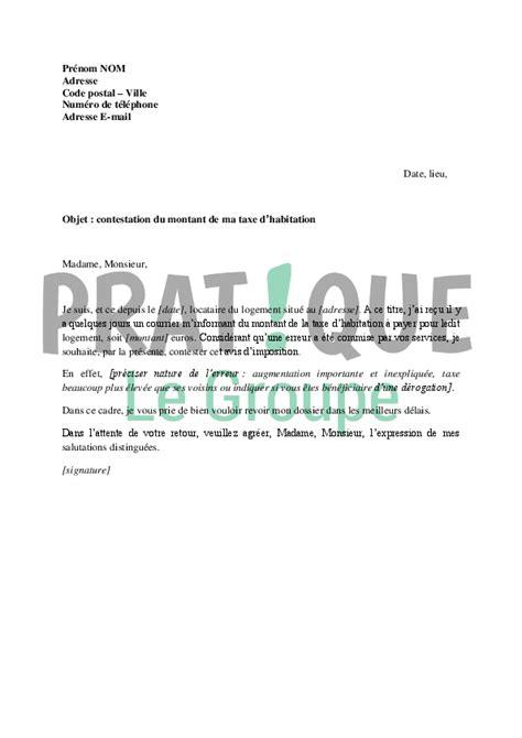 Exemple De Lettre Taxe D Habitation lettre de contestation du montant de la taxe d habitation